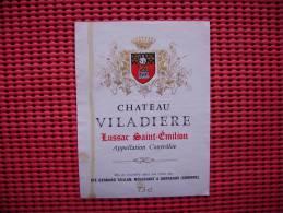 Etiquette  Vin Bordeaux Chateau  Viladiere  Bordeaux  33 - Bordeaux