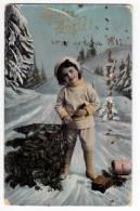 CHRISTMAS BOY WITH A TREE Nr. 209/V OLD POSTCARD 1911. - Christmas