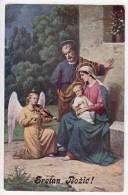 CHRISTMAS BABY JESUS AND ANGEL PLAYING MUSIC OLD POSTCARD - Christmas