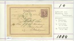 NEDERLANDS-INDIE * HANDGESCHREVEN BRIEFKAART Uit 1884 Van BANDOENG Naar  PEKALONGAN (6614) - Nederlands-Indië
