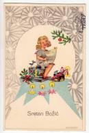 CHRISTMAS GIRL WITH TOYS AND CANDLE Nr. 2002 OLD POSTCARD - Christmas