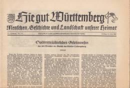 Hie Gut Württemberg, Geschichte Und Landschaft, Beilage Zur Ludwigsburger Kreiszeitung 14.6.1963, Ludwigsburg, Zabergäu - 2. Medio Evo