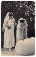 CHRISTMAS GIRLS IN WHITE SERIE 507 OLD POSTCARD 1907. - Christmas
