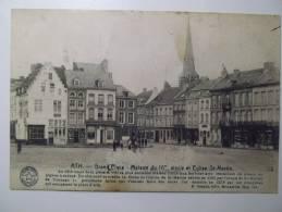Cpa Ath Grand'place Maison Du 16 Siecle Et église St Martin - Vue Rare 1921 - BE01 - Ath