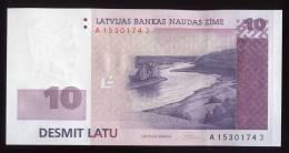 LATVIA - 2008 10 LATI / LATS River Bank Note - UNC - Lettonia