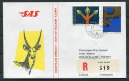 1968 Liechtenstein Zurich - Dar Es Salam Tanzania SAS Registered Flight Cover - Liechtenstein