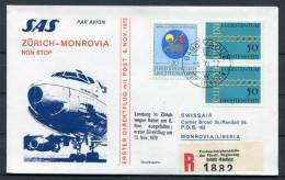 1972 Liechtenstein Zurich - Monrovia Liberia SAS Vaduz Registered Flight Cover - Covers & Documents