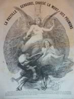 Publicité Pastiile Gérodel, Chasse La Mort Des Poumons , Ange Sein Nus , Squelette , Gravure D'aprés Dessin Lavigne 1889 - Documents Historiques