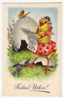 EASTER CHICKEN SINGING BIG EGG BUTTERFLY Nr. 53-2 OLD POSTCARD - Easter