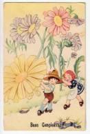 "BIRTHDAY ""HAPPY BIRTHDAY"" CHILDREN WITH FLOWERS DEIZIONI MPM OLD POSTCARD - Birthday"