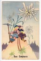 "BIRTHDAY ""HAPPY BIRTHDAY"" CHILDREN CLIMBING ON A HILL FLOWERS DEIZIONI MPM OLD POSTCARD - Birthday"