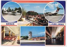TRANSPORT AERODROME BRNIK LJUBLJANA JUGOSLAVIA BIG POSTCARD 1975. - Aerodrome