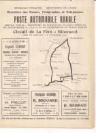 Aisne Poste Automobile Rurale Circuit La Fère -ribémont Ptt Postes Courrier Voyageurs Transports - Europe
