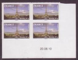 Autoadhésif N° 335a X 4 - La France En Timbres : La Tour Eiffel - Lettre Monde 20 G. - Coin Daté 20-08-10 - Adhésifs (autocollants)