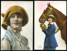 """Lot De 2 Cartes / Photos.  A Identifier,  """"Sans Titre""""  Portrait De Femme //  Cavalière Et Sa Monture.  """"Cheval """". - Postkaarten"""