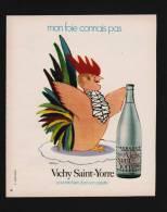 Publicité Papier 1973  Boisson Eau Minerale VICHY SAINT YORRE Illustrateur Dessin DARIGO Coq Poule - Advertising