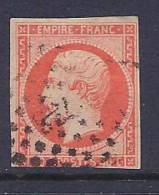 France, Scott # 18a Used Napoleon III, 1853, 3 Nice Margins - 1853-1860 Napoleon III