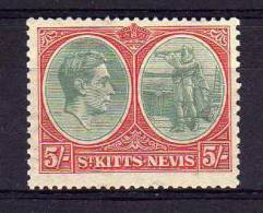 St Kitts Nevis - 1938/50 - 5/- Definitive (Ordinary Paper, Perf 13 X 12) - MH - St.Christopher-Nevis-Anguilla (...-1980)