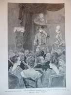Grands Salons Parisiens, Réprésentation Chez  Aubernon De Nerville13 Janv 1889  , Gravure Gusman , Dessin  Rejchan 1889 - Documents Historiques