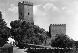 "Bellissima   Cartolina   Anni  50       ""  Erice - Torri Medioevali (sec.XIII) E Giardini Pubblici   "" - Trapani"