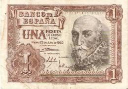 BILLETE DE 1 PTA DEL 22/07/1953 SERIE L CALIDAD RC  (BANKNOTE) - [ 3] 1936-1975 : Régence De Franco