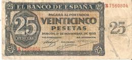 BILLETE DE ESPAÑA DE 25 PTAS DEL 21/11/1936 SERIE R  CALIDAD  BC (BANKNOTE) - 25 Peseten