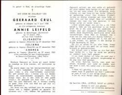 Doodsprentje Geerard Crul - Annie Leifeld En 3 Kinderen - Adegem - Itapeva Brazilie - Vliegtuigongeval Parijs 1973 - Obituary Notices