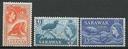 MALAISIE SARAWAK 1955/57 - Tortue Singe Oiseau - Neuf, Trace De Charniere (Yvert 190 - 192 Et 196) - Sarawak (...-1963)