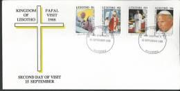 Lesotho. Scott # 650-53 FDC. Visit Of Pope John Paul II. 1988 - Papas
