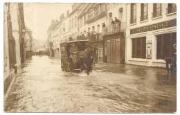 EURE 27.CARTE PHOTO GISORS RUE CAPPEVILLE INONDATIONS 1910 ATTELAGE FELIX POTIN SOCIETE GENERALE TEINTURERIE TABACS - Gisors
