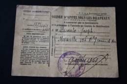 Militaria Ordre Appel Ss Drapeaux Classe 1932/1918 Matri 6060 Ministère Guerre:dépôt Du Train Marseille Cachet Militaire - Documents