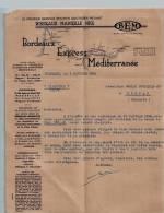Entête Du 04/02/1936 BEM Bordeaux Express Méditerranée - Transports - Bordeaux - France