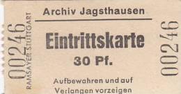 Eintrittskarte, Archiv Jagsthausen, 1952, 30 Pfg. - Eintrittskarten