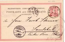 CARTOLINA POSTALE  DELLA GERMANIA-UNIONE POSTALE UNIVERSALE-BRILLON-14-8-1 884-ANNULLO DI BURGDORF-15-8-1884 - Germany