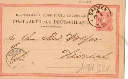 CARTOLINA POSTALE  DELLA GERMANIA-UNIONE POSTALE UNIVERSALE-SPEDITADA BREMEN-10-5-1881 A ZURIGO - Germany