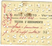 TESSERA D'ABBONAMENTO, S.A. AUTO VENETO , VICENZA, ABBONAMENTO MENSILE, - Abbonamenti