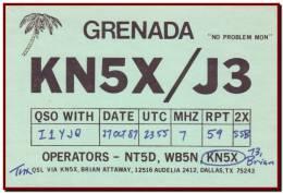 Grenada Island 1987 - QSL Radio Card To Italy, Coconut Palms / KN5X - Radio Amateur