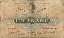 VILLE DE METZ 1 FRANC - Chambre De Commerce