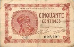 BILLET CHAMBRE DE COMMERCE DE PARIS 50 CENTIMES - Chambre De Commerce