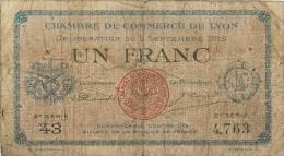 BILLET CHAMBRE DE COMMERCE DE LYON 1 FRANC 1915 - Chambre De Commerce
