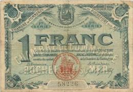 BILLET CHAMBRE DE COMMERCE DE ROCHEFORT SUR MER 1 FRANC - Chambre De Commerce