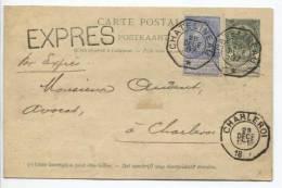CP 23+TP60 repiquagedes Charbonnages du Gouffre c.T�l�g.Chatelineau 28/12/1897 en Expr�s v.Charleroi PR73