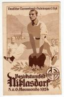 SPORTS GYMNASTICS DISTRICT TURN FESTIVAL NIKLASDORF 1924. GERMAN TURNER UNION - SUDETENGAU OLD POSTCARD - Gymnastics