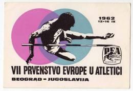 SPORTS ATHLETICS VII EUROPEAN ATHLETIC CHAMPIONSHIPS 1962. BEOGRAD YUGOSLAVIA  POSTCARD - Athletics