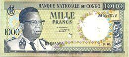 CONGO 1000 FRANCS GREEN MAN FRONT MOTIF BACK PERFORATED STARS DATED 01-08-1964 UNC P8 READ DESCRIPTION !! - Congo