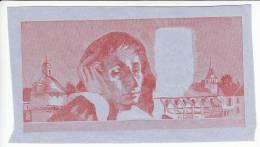 VERSO DU BILLET 500 FRANCS PASCAL ESSAI DE LA COULEUR MAGENTA SUR L'AUTRE FACE NON IMPRIME L'EMBOSSAGE EST TRES MARQUE - Specimen