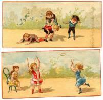 2 Chromos Jeux D'enfants (saute-mouton Et Volant) - Autres