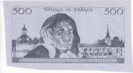 VERSO DU 500 FRANCS PASCAL ESSAI DE COULEUR NOIRE L'EMBOSSAGE AU DOS EST REMARQUABLE RARE DOCUMENT DE CETTE QUALITE - Fictifs & Spécimens