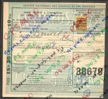 Colis Postaux Bulletin Expédition 15.20fr Timbre 2.40fr N° 38679 Cachet Gare SNCF CLICHY LEVALLOIS (café Martin) - Cartas