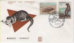 FDC Monaco 1970 Animaux / Animals III - Briefmarken